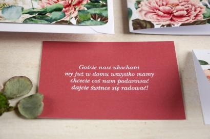 Czerwony Bilecik do kwiatowych zaproszeń ślubnych