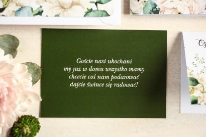 Zielony Bilecik do kwiatowych zaproszeń ślubnych