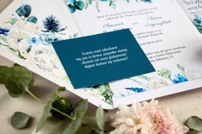Niebieski Bilecik do kwiatowych zaproszeń ślubnych