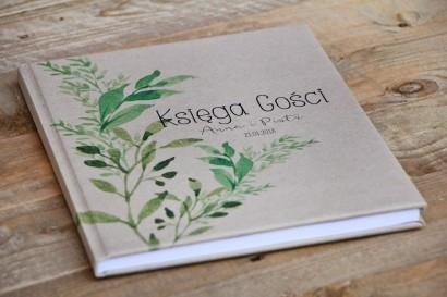 Księga Gości - wesele, dodatki ślubne - Margaret nr 7 - W stylu greenery, zieleń - ekologiczne