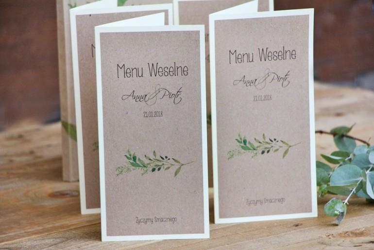 Menu weselne, stół weselny - Margaret nr 7 - Ekologiczne - Intensywnie zielone gałązki