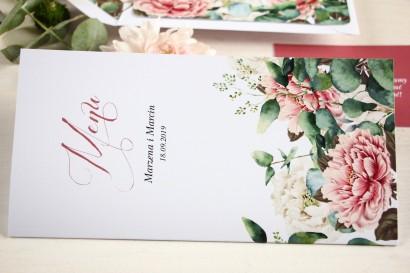 Menu weselne, grafika z dodatkiem różowych i białych piwonii w otoczeniu liści eukaliptusa
