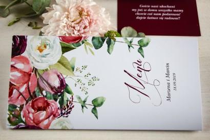 Menu weselne, grafika z różowymi i purpurowymi piwoniami i tulipanami
