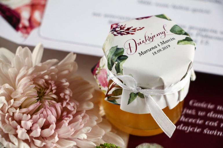 Miody - słodkie podziękowania dla gości, grafika z różowymi i purpurowymi piwoniami i tulipanami