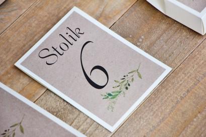 Numery stolików, stół weselny, ślub - Margaret nr 7 - Zielone gałązki