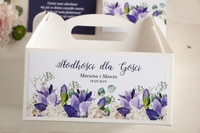 Prostokątne pudełko na Ciasto Weselne, podziękowania dla gości. Grafika z frezją i białymi piwoniami