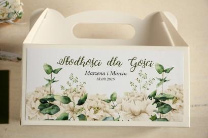Prostokątne pudełko na Ciasto Weselne, podziękowania dla gości. Grafika w stylu greenery z białymi piwoniami