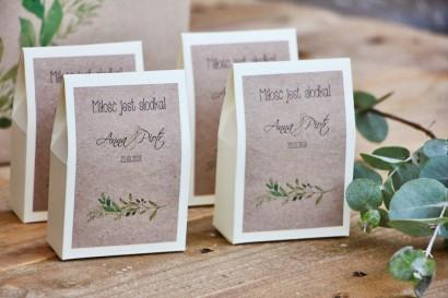 Pudełeczko stojące na cukierki, podziękowania dla Gości weselnych - Margaret nr 7 - Zielone gałązki