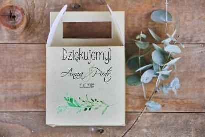 Pudełko na ciasto kwadratowe, tort weselny - Margaret nr 7 - Intensywnie zielone gałązki