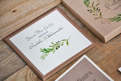 Bilecik Save The Date dwuwarstwowy do zaproszenia ślubnego Margaret nr 7 - Intensywnie zielone gałązki