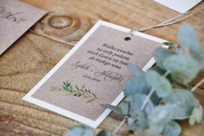 Zawieszka na butelkę, wódka weselna, ślub - Margaret nr 7 - Zielone gałązki