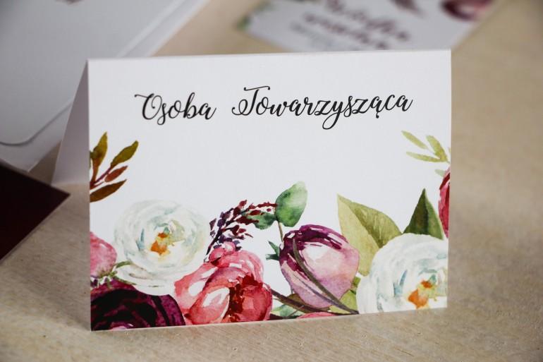 Kwiatowe Winietki ślubne na stół weselny, grafika z różowymi i purpurowymi piwoniami i tulipanami