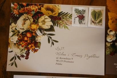 Koperta do zaproszeń ślubnych z botanicznym bukietem w stylu vintage