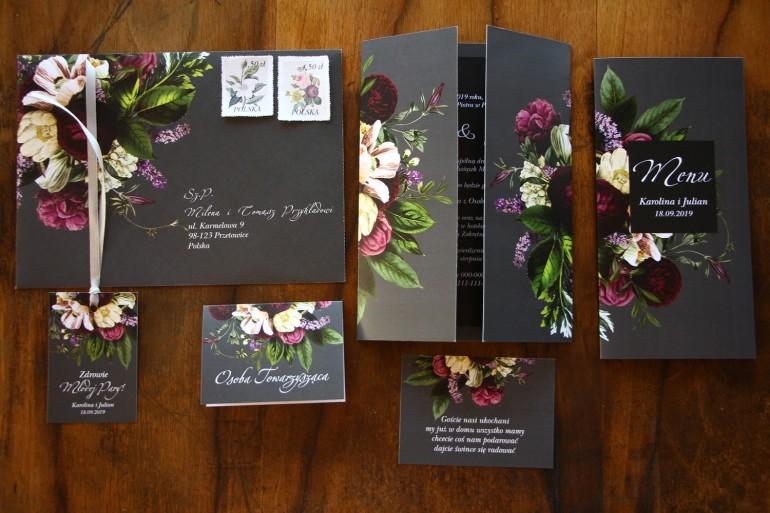 Zestaw próbny zaproszeń ślubnych wraz z podziękowaniami z kolekcji Eteryczne nr 2