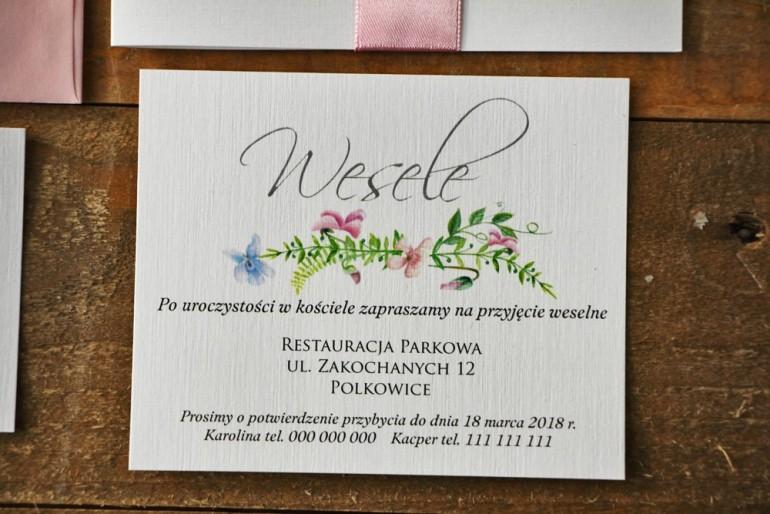 Bilecik do zaproszenia 120 x 98 mm prezenty ślubne wesele - Akwarele nr 4 - Pastelowe fiołki