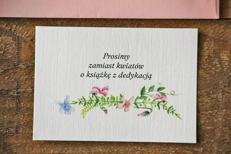 Bilecik do zaproszenia 105 x 74 mm prezenty ślubne wesele - Akwarele nr 4 - Pastelowe fiołki