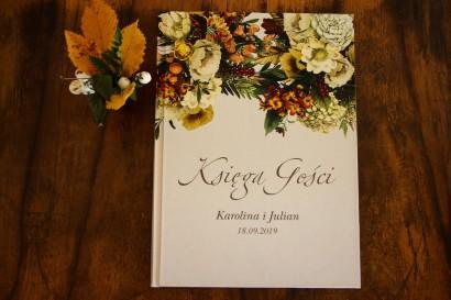 Ślubna, weselne Księga Gości z botanicznym bukietem w stylu vintage