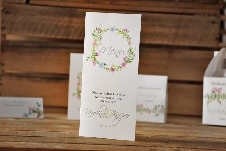 Menu weselne, stół weselny - Akwarele nr 4 - Pastelowe fiołki