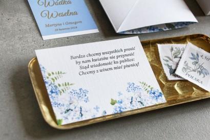 Bilecik do zaproszeń ślubnych z niebieską hortensją