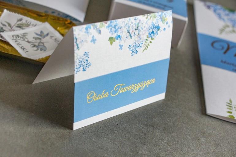 Winietki ślubne ze złoceniem. Grafika z niebieską hortensją.