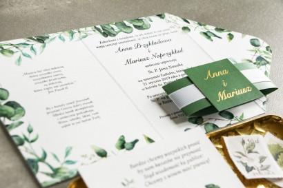 Zaproszenia ślubne z eukaliptusem i zielonymi gałązkami oraz ze złoceniem