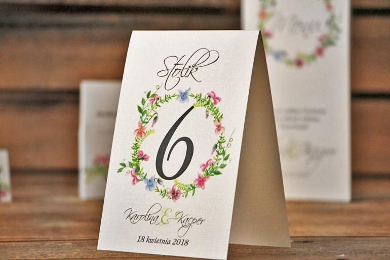Numery stolików, stół weselny, ślub - Akwarele nr 4 - Delikatne pastelowe fiołki