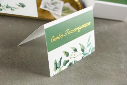 Winietki ślubne ze złoceniem. Grafika z zielonymi liśćmi eukaliptusa