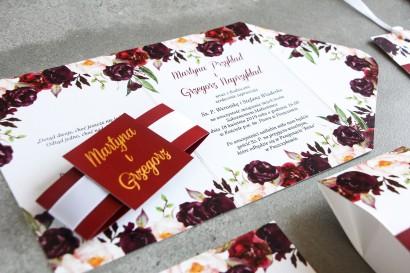 Burgundowe zaproszenia ślubne z różami, paprocią i eukaliptusem Burgundowe zaproszenia ślubne z różami, paprocią i eukaliptusem