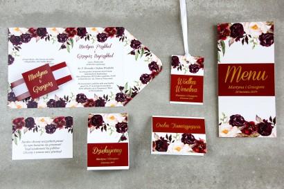 Burgundowe zaproszenia ślubne z różami, paprocią i eukaliptusem - zestaw próbny