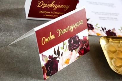 Burgundowe Winietki ślubne ze złoceniem. Grafika z różami, paprocią i eukaliptusem