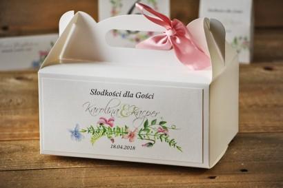 Prostokątne pudełko na ciasto, tort weselny, ślub - Akwarele nr 4 - Delikatne pastelowe fiołki