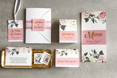 Zestaw próbny - Różowe zaproszenia ślubne w stylu glamour z różami i białymi piwoniami