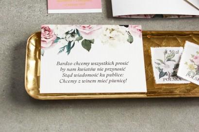 Różowe Bilecik do zaproszeń ślubnych z różami i białymi piwoniami