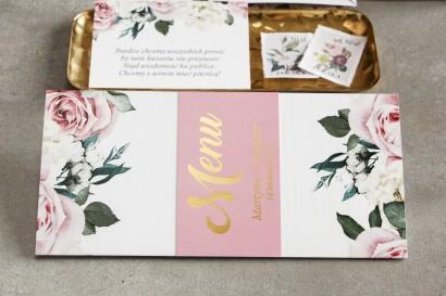 Różowe Menu weselne w stylu glamour z różami i białymi piwoniami oraz złoceniem na okładce