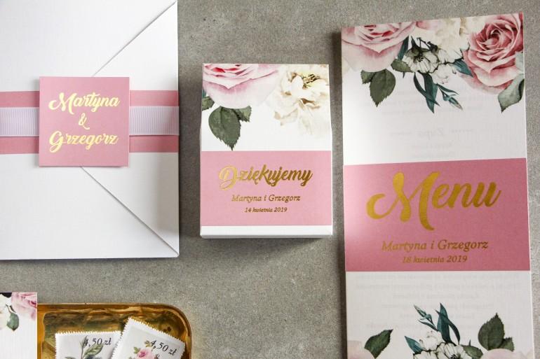 Pudełeczko na słodkości jako podziękowania dla gości weselnych - Różowa Grafika z różami i białymi piwoniami