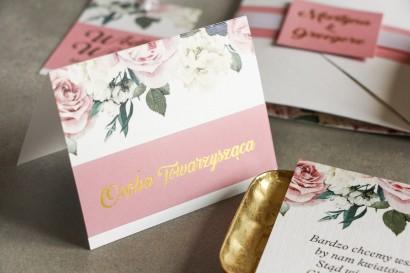 Różowe Winietki ślubne ze złoceniem. Grafika z różami i białymi piwoniami