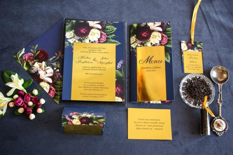 Zestaw próbny - Granatowe zaproszenia ślubne w stylu glamour ze złota ramką