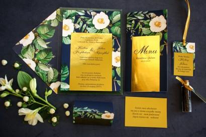 Zestaw próbny - Granatowe zaproszenia ślubne w stylu glamour ze złotą ramką