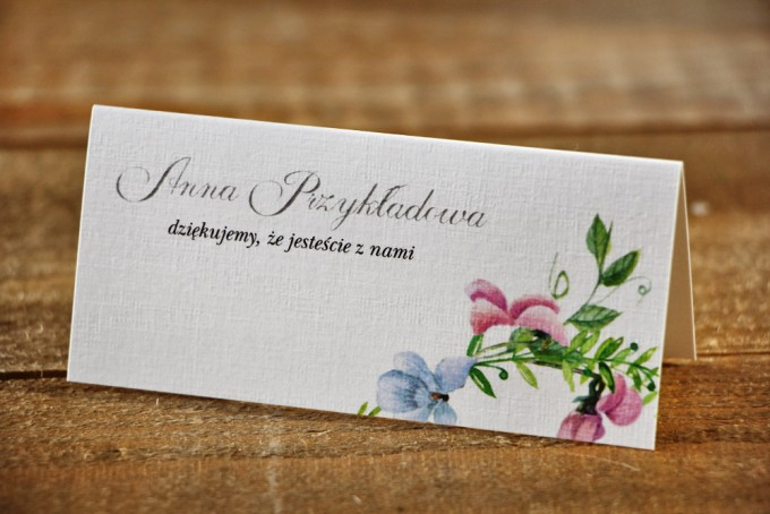 Winietki na stół weselny, ślub - Akwarele nr 4 - Delikatne pastelowe fiołki