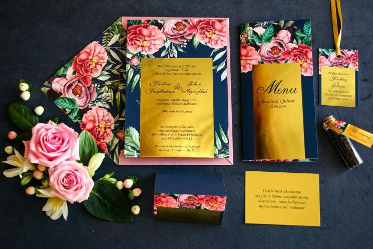 Zestaw próbny - Granatowe zaproszenia ślubne w stylu glamour ze złota ramką, różowymi piwoniami i różami