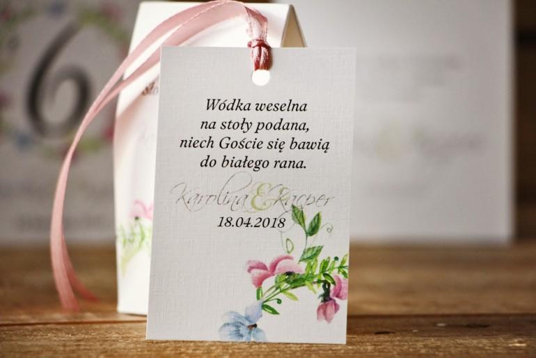 Zawieszka na butelkę, wódka weselna, ślub - Akwarele nr 4 - kwiatowe - Pastelowe fiołki