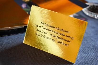 Złoty bilecik do zaproszeń ślubnych w stylu Glamour - Laura nr 1