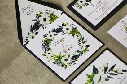 Zaproszenia ślubne ze złoceniem, białymi anemonami, granatem i zielenią. Złote zaproszenia ślubne - Cykade nr 3