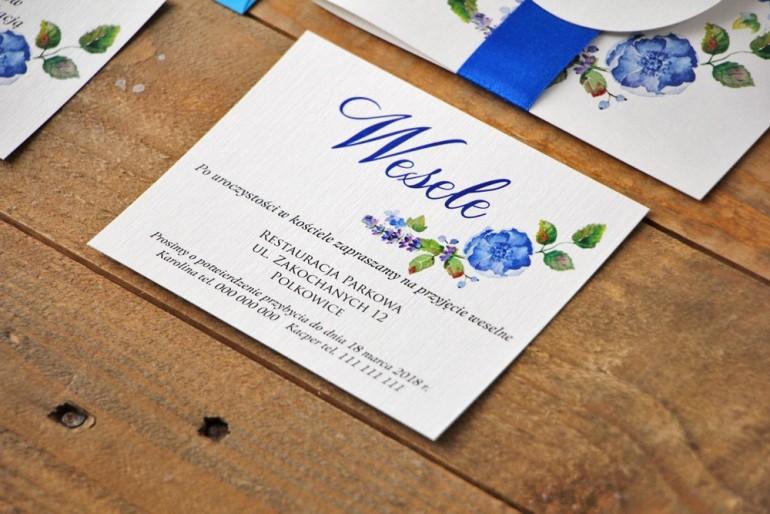 Bilecik do zaproszenia 120 x 98 mm prezenty ślubne wesele - Akwarele nr 5 - Chabrowe kwiaty
