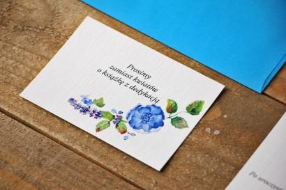 Bilecik do zaproszenia 105 x 74 mm prezenty ślubne wesele - Akwarele nr 5 - Chabrowe kwiaty