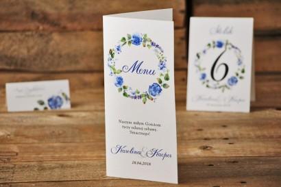 Menu weselne, stół weselny - Akwarele nr 5 - Chabrowe kwiaty