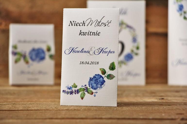 Podziękowania dla Gości weselnych - nasiona Niezapominajki - Akwarele nr 5 - Chabrowe kwiaty