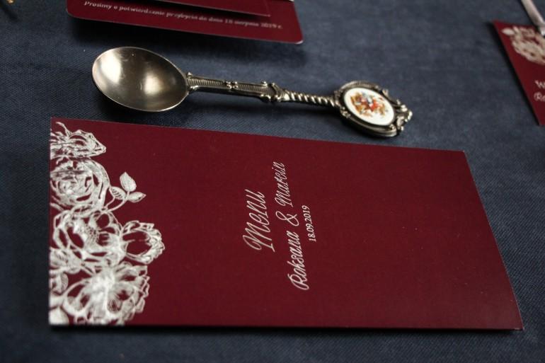 Bordowo - Srebrne Menu weselne ze srebrzeniem w stylu Glamour