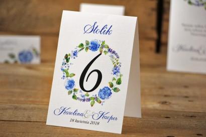 Numery stolików, stół weselny, ślub - Akwarele nr 5 - Chabrowe kwiaty