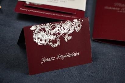 Bordowo - Srebrne Winietki na stół weselny w stylu Glamour ze srebrzeniem